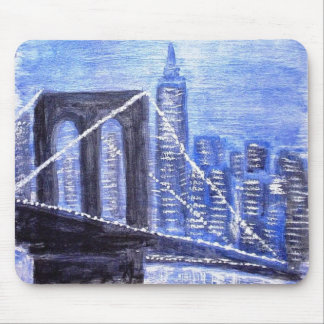 Brooklyn Bridge Winter Night Mouse Pad