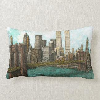 Brooklyn Bridge with Manhattan skyline Lumbar Cushion