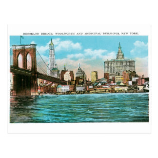 Brooklyn Bridge, Woolworth and Municipal... Postcard