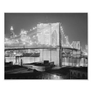 Brooklyn Brigde at Night, 1982, Black & White Photo Print