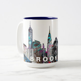 Brooklyn in graffiti Two-Tone coffee mug