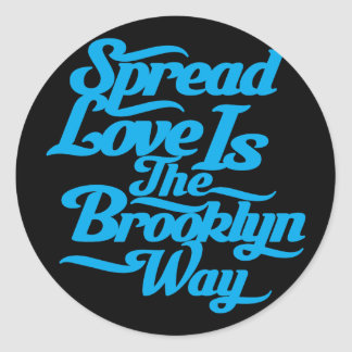 Brooklyn Love Blue Classic Round Sticker