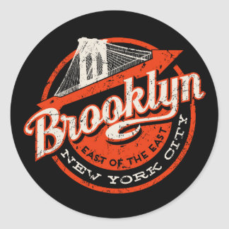 Brooklyn New York City | Retro Typography Classic Round Sticker