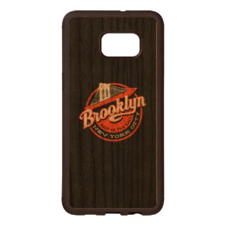Brooklyn New York City | Retro Typography Wood Samsung Galaxy S6 Edge Case