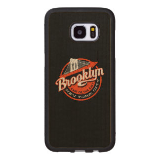 Brooklyn New York City | Retro Typography Wood Samsung Galaxy S7 Edge Case