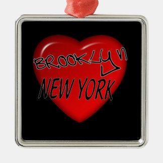 Brooklyn New York Heart Logo Metal Ornament