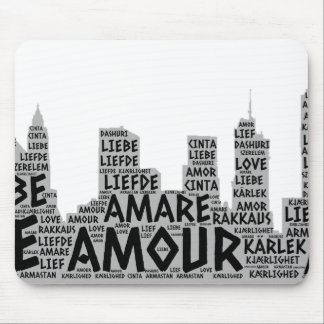 Brooklyn New York illustrated with Love Word Mouse Pad