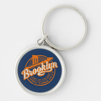 Brooklyn, New York | Retro Vintage Typography Silver-Colored Round Key Ring