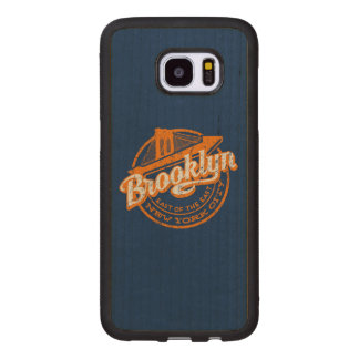 Brooklyn, New York | Retro Vintage Typography Wood Samsung Galaxy S7 Edge Case