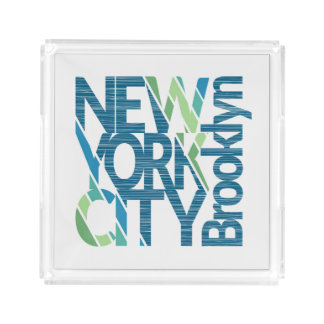 Brooklyn New York Typography Acrylic Tray