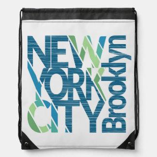 Brooklyn New York Typography Drawstring Bag