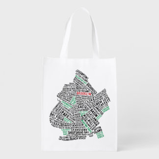 Brooklyn New York Typography Map Reusable Bag