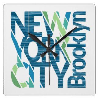 Brooklyn New York Typography Square Wall Clock