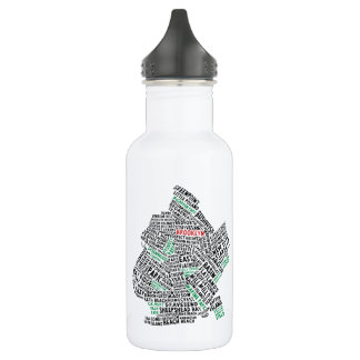 Brooklyn NYC Typography Map Bottle