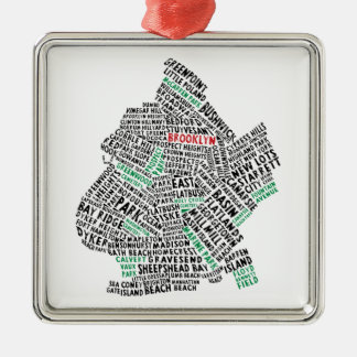 Brooklyn NYC Typography Map Metal Ornament