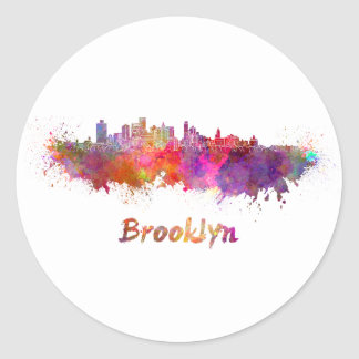 Brooklyn skyline in watercolor classic round sticker