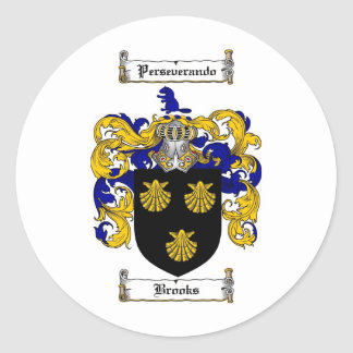 BROOKS FAMILY CREST -  BROOKS COAT OF ARMS CLASSIC ROUND STICKER