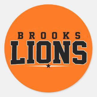 Brooks High School; Lions Round Stickers