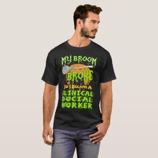 Broom Broke Clinical Social Worker Halloween Shirt