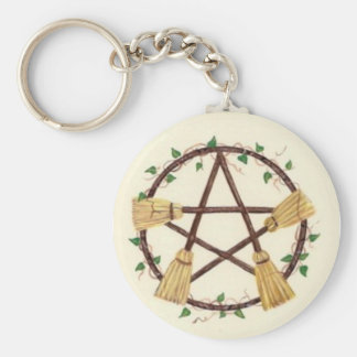 Broom Pentagam with Ivy Key Ring