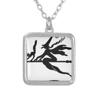 Broom Rider Silver Plated Necklace