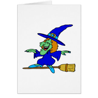Broom Surfing Witch Card