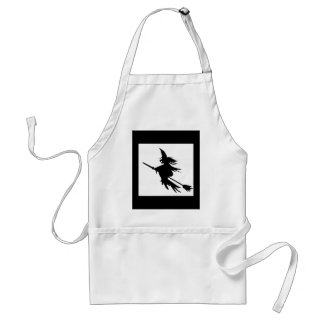 Broomstick Witch Silhouette Standard Apron