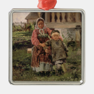 Brother and Sister, 1880 Silver-Colored Square Decoration