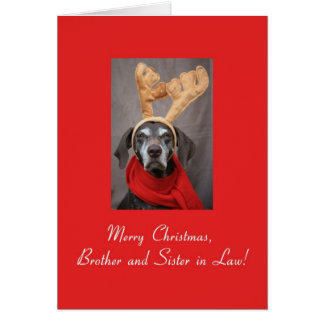 Brother and Sister in Law reindeer pointer merry x Card