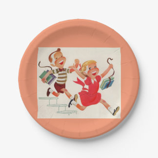 brother and sister on their way to school 7 inch paper plate