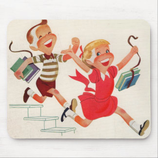 brother and sister on their way to school mouse pad
