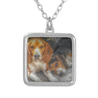 Brother Beagles Square Pendant Necklace