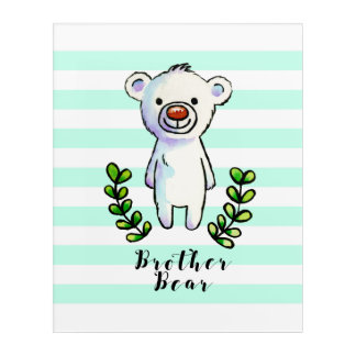 Brother Bear Ink and Watercolor Illustration Acrylic Wall Art