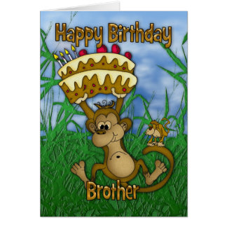 Brother Happy Birthday with monkey holding cake Card