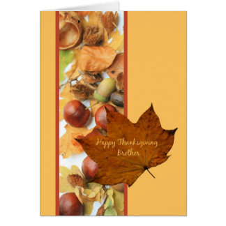 brother happy thanksgiving  maple leaf ard card