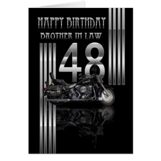 Brother In Law 48th Birthday Card - Motorbike