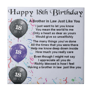 Brother in Law Poem 18th Birthday Small Square Tile