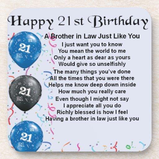 Brother in Law Poem 21st Birthday Beverage Coaster