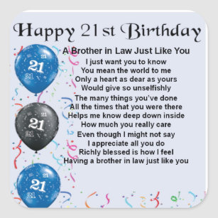 Brother In Law Poem 21st Birthday Square Sticker