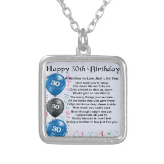 Brother in Law Poem 30th Birthday Silver Plated Necklace