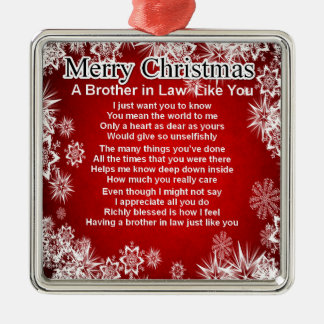 Brother in Law Poem - Christmas Design Silver-Colored Square Decoration