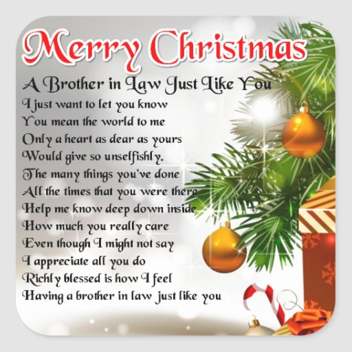 Brother in Law Poem - Christmas Design Square Sticker
