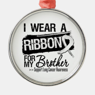 Brother Lung Cancer Ribbon Silver-Colored Round Decoration