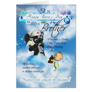 Brother Nurse's Day cute little baby and cute nurs Greeting Card