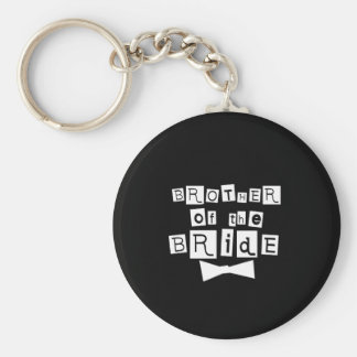 Brother of Bride White on Black Basic Round Button Key Ring