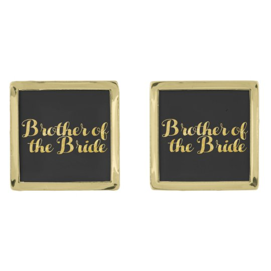 Brother of the bride gold gold finish cufflinks