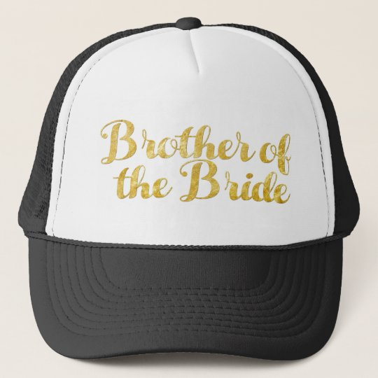 Brother of the bride gold trucker hat