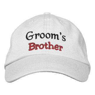 BROTHER of the GROOM Custom Name WHITE A07C7D Embroidered Hat