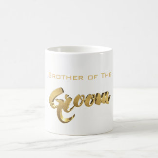 Brother of The Groom Elegant Typography Gold Text Coffee Mug