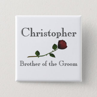 """Brother of the Groom"" - Red Long Stemmed Rose [a] 15 Cm Square Badge"